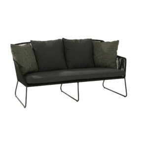 "4Seasons Loungesofa ""Accor"", Gestell Edelstahl anthrazit, Rope anthrazit, Kissenset grau"