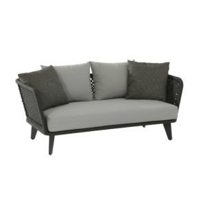 "4Seasons Outdoor Loungesofa ""Belize"" inkl. 3 Kissen & 2 Dekokissen, Gestell Aluminium anthrazit, Rope schwarz"