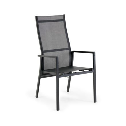 "Brafab Positionsstuhl/Hochlehner ""Avanti"", Gestell Aluminium anthrazit matt, Sitzfläche Textilgewebe grau, Armlehnen Aluminium (Farbton im Original heller, siehe Ambientefotos)"