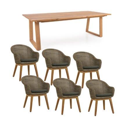 """Brafab Gartenmöbel-Set mit Dining Sessel """"Beverly"""" und Tisch """"Laurion"""", Gestelle Teakholz, Sitzfläche Polyrattan rustic (beige), Kissen grau, Tischplatte Teak"""