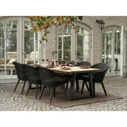 """Brafab Gartenmöbel-Set mit Dining Sessel """"Beverly"""" und Tisch """"Laurion"""", Gestelle Aluminium anthrazit, Sitzfläche Polyrattan schwarz, Kissen grau, Tischplatte Teak"""