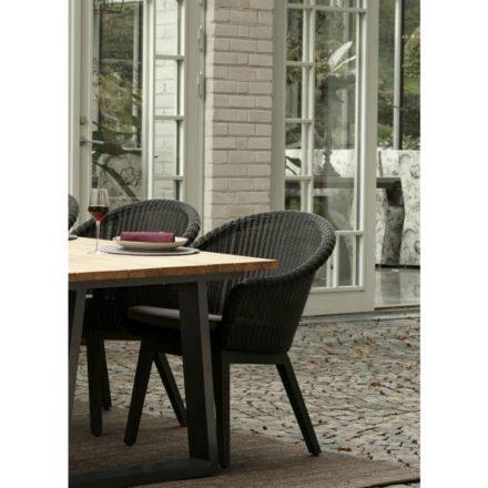 """Brafab Dining Sessel """"Beverly"""", Gestell Aluminium anthrazit, Sitz- und Rückfläche Polyrattan schwarz, Kissen grau"""