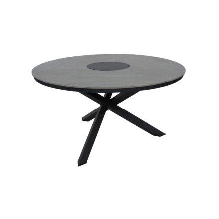 """Brafab Gartentisch """"Kenora"""", Gestell Aluminium anthrazit, Tischplatte Keramik grau, Ø 137 cm"""