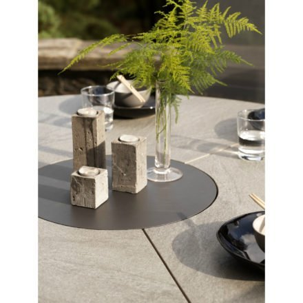 """Brafab Gartentisch """"Kenora"""", Gestell Aluminium anthrazit, Tischplatte Keramik grau, Ø 130 cm"""