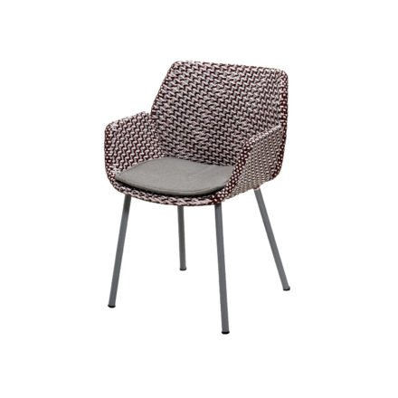 "Cane-line ""Vibe"" Dining-Sessel, Geflecht light grey/bordeaux/dusty rose mit Kissen taupe"