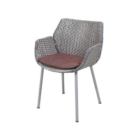 "Cane-line ""Vibe"" Dining-Sessel, Geflecht light grey/grey/taupe mit Kissen bordeaux"