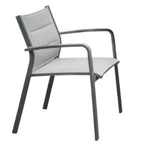 """Home Islands Stapelsessel """"Luis"""", Gestell Aluminium charcoal, Sitz-& Rückenfläche Textilgewebe silver black wattiert"""