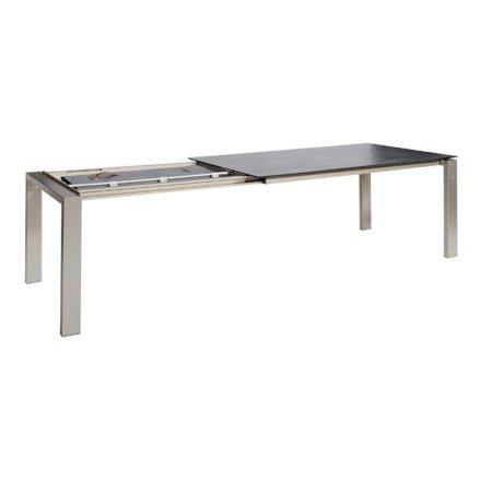 "Jati&Kebon Ausziehtisch ""Bologna"", Gestell Aluminium eisengrau, Tischplatte HPL lavagrau, Maße: 180/280x95x75 cm"