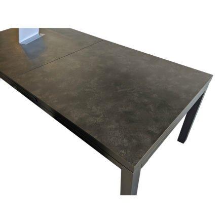 """Jati&Kebon Ausziehtisch """"Gabon"""", Gestell Aluminium eisengrau, Tischplatte HPL nero granite"""