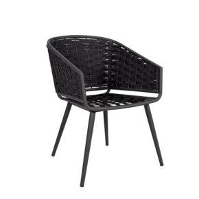 "Jati&Kebon Dining-Sessel ""Palm"", Gestell Aluminium eisengrau, Rope full weaving schwarz"