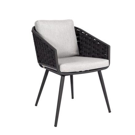 "Jati&Kebon Dining-Sessel ""Palm"", Gestell Aluminium eisengrau, Rope full weaving schwarz mit Kissen"