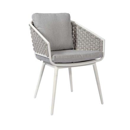 "Jati&Kebon Dining-Sessel ""Palm"", Gestell Aluminium weiß, Rope full weaving light grey melange mit Kissen"