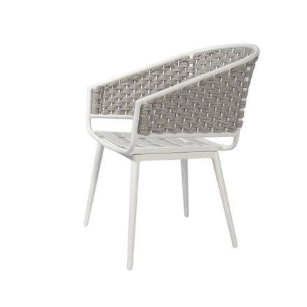 "Jati&Kebon Dining-Sessel ""Palm"", Gestell Aluminium weiß, Rope full weaving light grey melange"