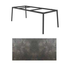 "Jati&Kebon Gartentisch ""Durham"", Aluminium eisengrau, HPL Granit dunkelgrau"