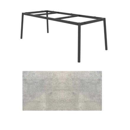 "Jati&Kebon Gartentisch ""Durham"", Aluminium eisengrau, HPL Granit hell"
