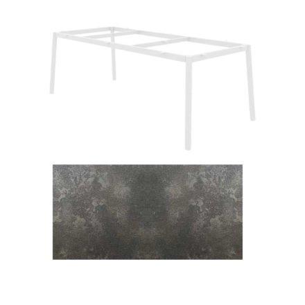 "Jati&Kebon Gartentisch ""Durham"", Aluminium weiß, HPL Granit dunkelgrau"