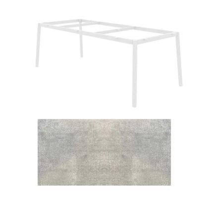 """Jati&Kebon Gartentisch """"Durham"""", Aluminium weiß, HPL Granit hell"""