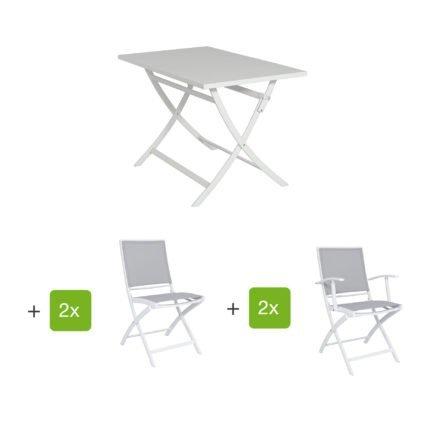 """Jati&Kebon Gartenmöbel-Set mit Tisch """"Marida"""" und Klappstuhl """"Feodal"""", Aluminium weiß"""