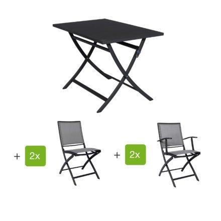 """Jati&Kebon Gartenmöbel-Set mit Tisch """"Marida"""" und Klappstuhl """"Feodal"""", Aluminium eisengrau"""