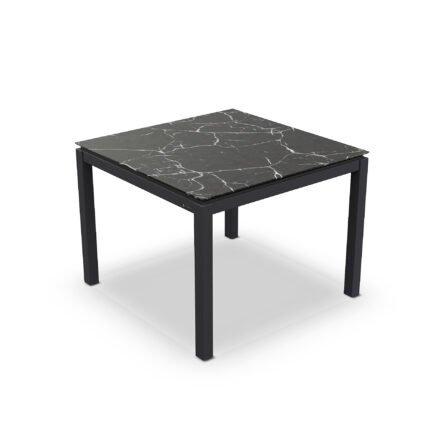 "Jati&Kebon Gartentisch ""Lugo"", Gestell Aluminium eisengrau, Tischplatte Keramik Dark Marble, 90x90 cm"