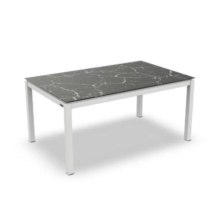 """Jati&Kebon Gartentisch """"Lugo"""", Gestell Aluminium weiß, Tischplatte Keramik Dark Marble, 160x90 cm"""