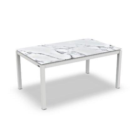 "Jati&Kebon Gartentisch ""Lugo"", Gestell Aluminium weiß, Tischplatte Keramik Graduario, 160x90 cm"