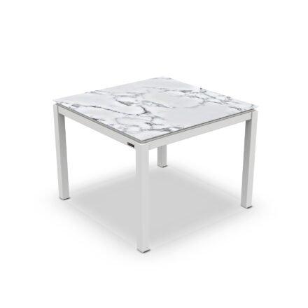 "Jati&Kebon Gartentisch ""Lugo"", Gestell Aluminium weiß, Tischplatte Keramik Graduario, 90x90 cm"