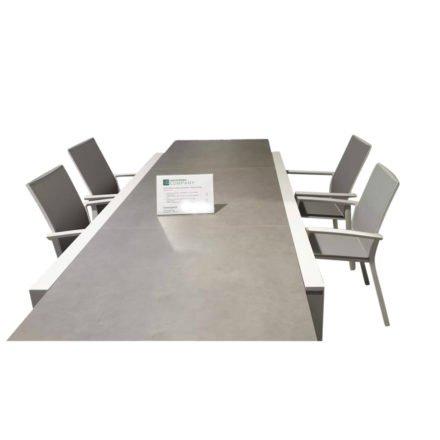 """Jati & Kebon Ausziehtisch """"Livorno"""", Alu weiß, Tischplatte HPL Granit hellgrau mit Stühlen """"Sevilla"""""""