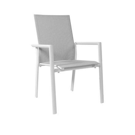 "Jati&Kebon Stapelsessel ""Nashville"", Gestell Aluminium weiß, Sitzfläche Textil springgrey, Armlehnen Aluminium"