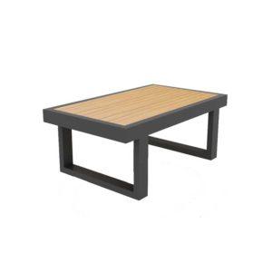 """Jati & Kebon Beistelltisch """"Rao"""", Größe 70x42 cm, Alu eisengrau, Tischplatte Teak"""