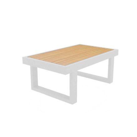 """Jati & Kebon Beistelltisch """"Rao"""", Größe 70x42 cm, Alu weiß, Tischplatte Teak"""