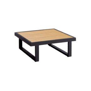 """Jati&Kebon """"Rao"""" Beistelltisch, Alu eisengrau, Tischplatte Teak, Größe 70x70 cm"""