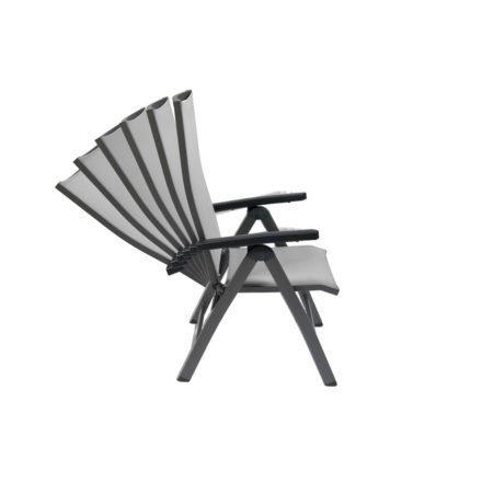 Gartenstuhl Tinos Hochlehner von Jati&Kebon, Aluminium eisengrau, Textilgewebe silbergrau, Armlehnen Aluminium
