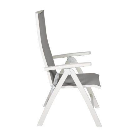 Gartenstuhl Tinos Hochlehner von Jati&Kebon, Aluminium weiß, Textilgewebe hellgrau, Armlehnen Aluminium