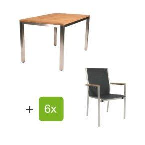 """Jati&Kebon Gartenmöbel-Set mit Tisch """"Mallorca"""" und Stuhl """"Darfo"""", Edelstahl, Textilen basalt"""