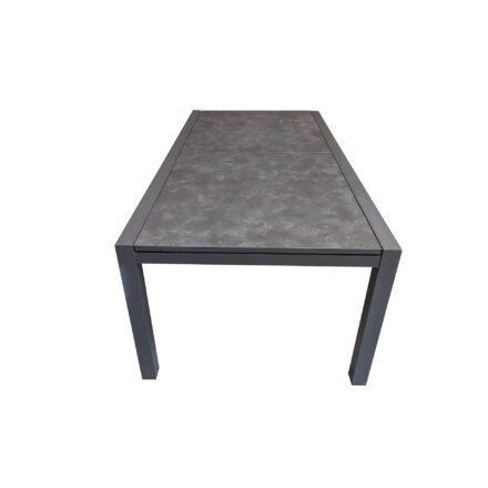 """Jati&Kebon Ausziehtisch """"Livorno"""", Alu eisengrau, Tischplatte HPL Granit dunkelgrau"""