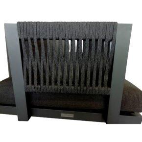 """Jati&Kebon Rücken-/Armlehne für Liege bzw. 1-Sitzermodul """"Rao Rope"""", Gestell Aluminium eisengrau (fällt im Original dunkler aus), Rope charcoal black"""