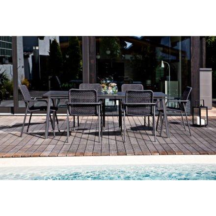 """Jati&Kebon Gartenmöbel-Set """"Durham"""", Gestelle Aluminium eisengrau, Sitzflächen Rope schwarz, Tischplatte HPL Granit dunkelgrau, 220x100 cm"""