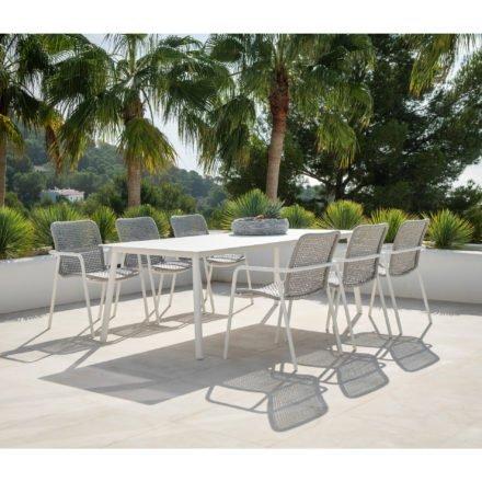 """Jati&Kebon Gartenmöbel-Set """"Durham"""", Gestelle Aluminium weiß, Sitzflächen Rope light grey melange, Tischplatte HPL, 220x100 cm"""
