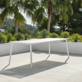 """Jati&Kebon Gartentisch """"Durham"""", Gestell Aluminium weiß, Tischplatte HPL , 220x100 cm"""