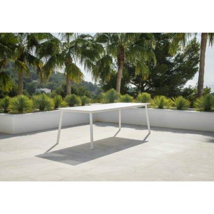 """Jati&Kebon Gartentisch """"Durham"""", Gestell Aluminium weiß, Tischplatte HPL, 220x100 cm"""