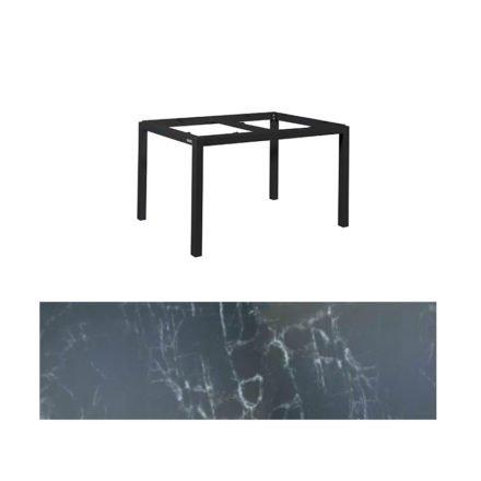 "Jati&Kebon Gartentisch ""Lugo"", Gestell Aluminium eisengrau, Tischplatte Keramik Dark Marble, 130x80 cm"