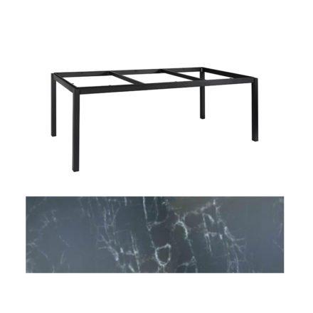 "Jati&Kebon Gartentisch ""Lugo"", Gestell Aluminium eisengrau, Tischplatte Keramik Dark Marble, 220x100 cm"