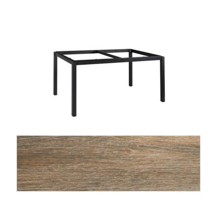 "Jati&Kebon Gartentisch ""Lugo"", Gestell Aluminium eisengrau, Tischplatte Keramik Eiche dunkel, 160x90 cm"