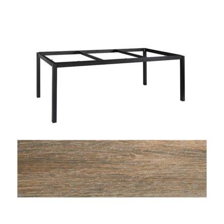 "Jati&Kebon Gartentisch ""Lugo"", Gestell Aluminium eisengrau, Tischplatte Keramik Eiche dunkel, 220x100 cm"