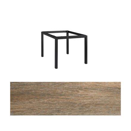 "Jati&Kebon Gartentisch ""Lugo"", Gestell Aluminium eisengrau, Tischplatte Keramik Eiche dunkel, 90x90 cm"