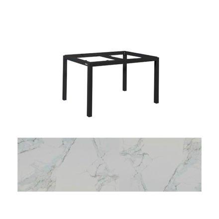 "Jati&Kebon Gartentisch ""Lugo"", Gestell Aluminium eisengrau, Tischplatte Keramik Graduario, 130x80 cm"