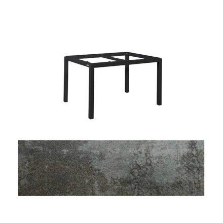 "Jati&Kebon Gartentisch ""Lugo"", Gestell Aluminium eisengrau, Tischplatte Keramik Oxido Dark Night, 130x80 cm"