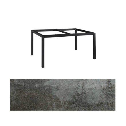 "Jati&Kebon Gartentisch ""Lugo"", Gestell Aluminium eisengrau, Tischplatte Keramik Oxido Dark Night, 160x90 cm"