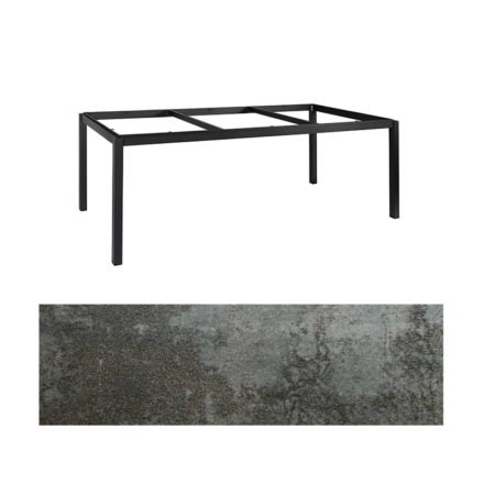 "Jati&Kebon Gartentisch ""Lugo"", Gestell Aluminium eisengrau, Tischplatte Keramik Oxido Dark Night, 220x100 cm"